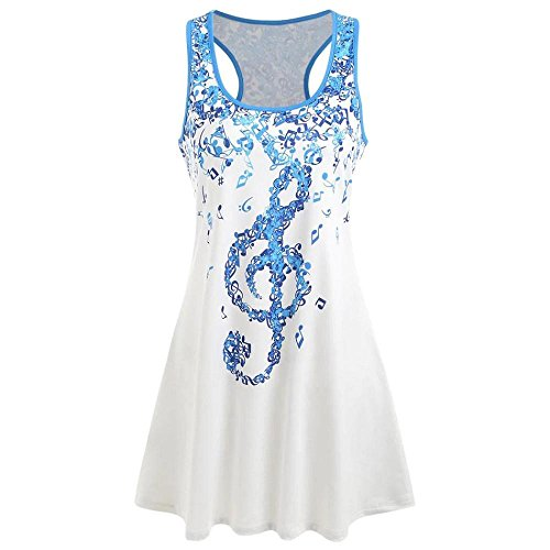 LuckUK Womens Tops, Ladies Tops,Womens T Shirts,Vest Tops for Women,Womens Summer Clothes,Ladies Musical Note O Neck Sleeveless T-Shirt Tank Tops Vest Blouse Blue