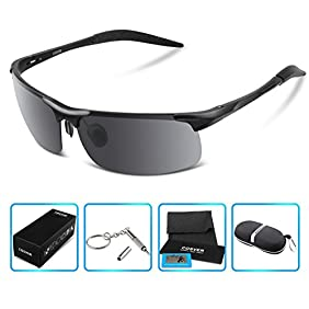 COSVER Men's Sports Style Polarized Sunglasses for Men Driving Cycling Running Fishing Golf Unbreakable Frame Metal Driver Glasses