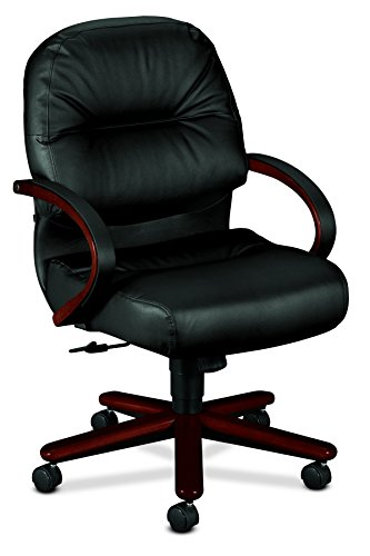 Soft Series 2190 (HON 2192NSR11 2190 Pillow-Soft Wood Series Mid-Back Chair, Mahogany/Black Leather)