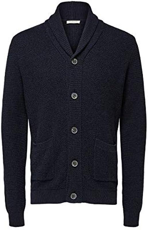 SELECTED HOMME Slhrichard Button Shawl Neck Cardigan W kurtka z dzianiny: Odzież