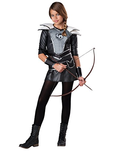 Women's Midnight Huntress Costumes (Fun World Women's Tween Midnight Huntress Costume, Black/Silver, XL)