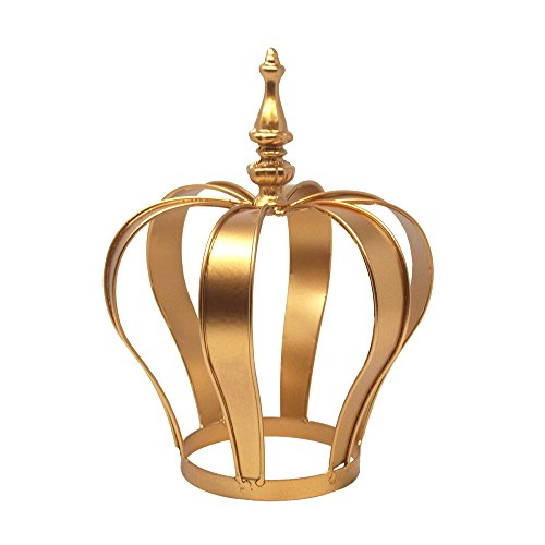 Homeford Gold Metal Crown Cake Topper Centerpiece, (Large Cake Candle)
