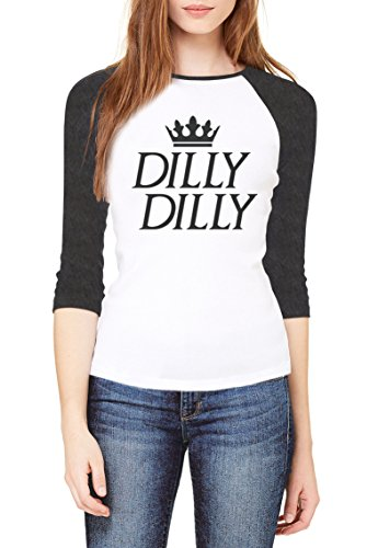Topcloset Dilly Dilly Funny Beer Lover Women Baseball T-Shirt Large White/Grey