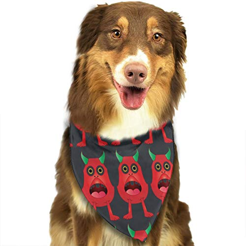 Funny Surprised Cartoon Monster Adjustable Dog Bandana Washable Dog Scarf Pet Triangle Bandanas Fashion Bib for Small to Large Dogs Cats]()