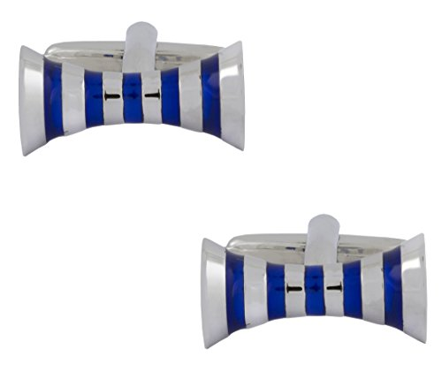 The Jewelbox Zivom Glossy Blue Enamel Ribbon Silver Rhodium Plated Brass Cufflink Pair for Men