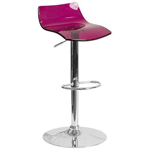 Flash Furniture Contemporary Transparent Purple Acrylic Adjustable Height Barstool with Chrome Base