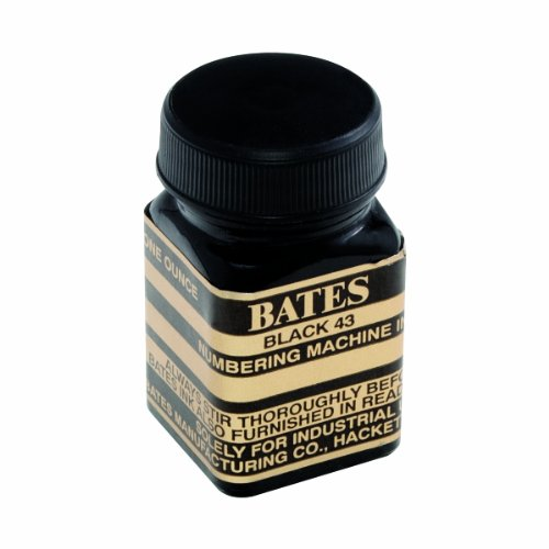 Bates Numbering Machine Refill Ink, 1 Ounce Bottle with Cap Brush, Black (9800659) ()