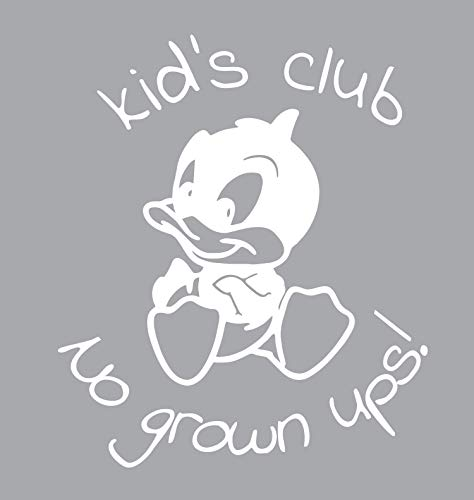 BellaCross Unofficial Baby Looney Tunes Wall Decal: Kid Club No Grown Ups - Made in The USA from Vinyl! This is One of Our Most Popular Kid's Wall Decals! - White