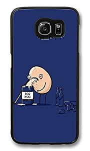 S6 Case, Egg Nog Funny Illustration Creativity Ultra Fit Black Bumper Shockproof Case For Galaxy S6 Customizable Hard PC Samsung Galaxy S6
