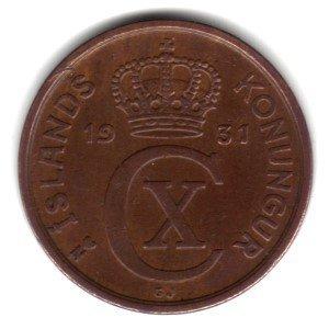 1931 (h) N-GJ Iceland 5 Aurar Coin KM#7.1 - Key Date