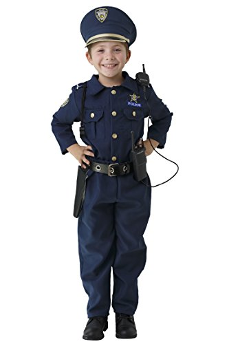 Dress Up America Deluxe Police Dress Up Costume Set - Includes Shirt, Pants, Hat, Belt, Whistle, Gun Holster and Walkie Talkie (T2),Blue,T2 -