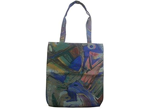 Leesha WILDe Upcycling Schultertasche Rot Abstrakt, Beutel Tasche mit Henkeln aus Stoff Blau Abstrakt