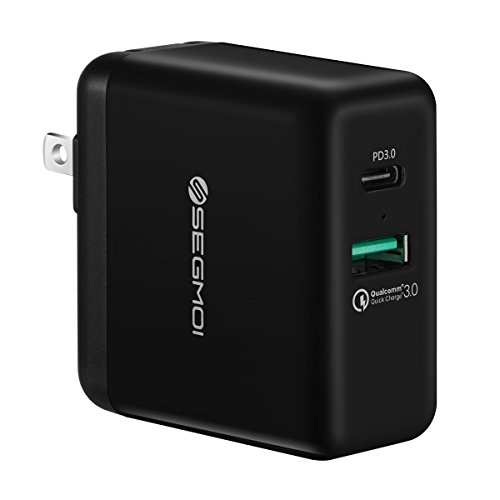 USB C Charger with 27.6W USB-C PD Power Delivery 3.0 & 18W Quick Charge 3.0 Port Dual USB Wall Plug Charging Block Cube for iPhone X/8/7/6/5s/6s Plus iPad Samsung S8/S8+/Note8,Google Pixel 2 XL-Black