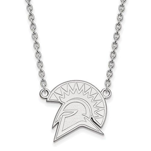 10k White Gold LogoArt Official Licensed Collegiate 18in San Jose State University (SJSU) Large Pendant w/Necklace