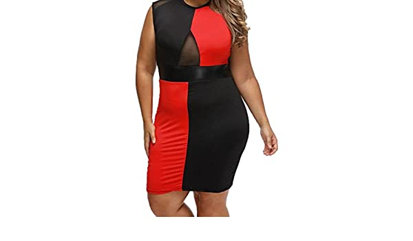 053bab6f51a Amazon.com  MLG Womens Sexy Hit Color Plus Size Club Dresses Party Dress  Black L  Clothing