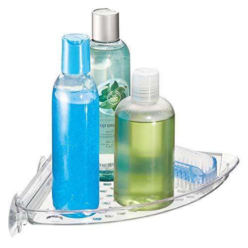iDesign Plastic Bathroom Suction Holder, Shower Organizer Corner Basket for Sponges, Scrubbers, Soap, Shampoo, Conditioner, 1.3