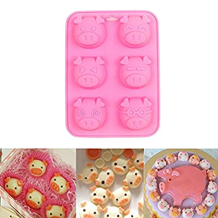 Amazon.com: Gessppo 1PC 6 Holes Expression Piglet Cake Mold Little Pig Silicone Cake Baking Mould Cookie Chocolate Pastry Biscuits Mold New Pink: Kitchen & ...