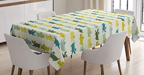 Ambesonne Animal Tablecloth, Crocodile Characters in Cartoon Style Funny Faces Animal Alligators Childish, Dining Room Kitchen Rectangular Table Cover, 60 W X 84 L Inches, Yellow Green]()
