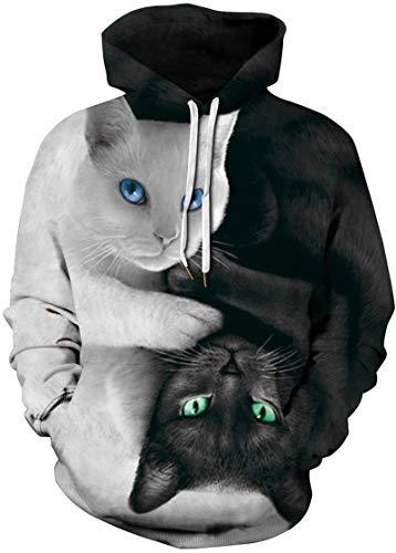 Longues Chat Chaud 3d Emilyle Blanc Manches Homme Noir Pull shirt Coloré Motifs Sweat Sport Fantaisie wwxfH7Y8q