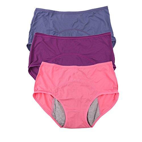 YOYI FASHION Women Mesh Holes Breathable Leakproof Period Panties US Size L/7 Purple Blue Watermelon ()
