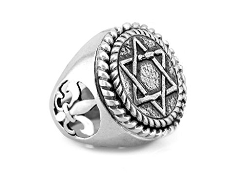 Fleur De Lis Stars (Star of David Coin Medallion Ring with fleur de lis symbol/ Magen David Ring)
