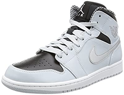 Nike Mens Air Jordan 1 Retro Mid Basketball Shoe Pure Platinum/White-Metallic Silver 8.5