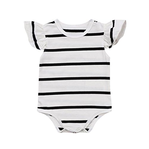 Cuekondy Infant Toddler Baby Boys Girls Striped Romper Jumpsuit Playsuit Outfit Clothes Size 6-24 Months (White, 18M)