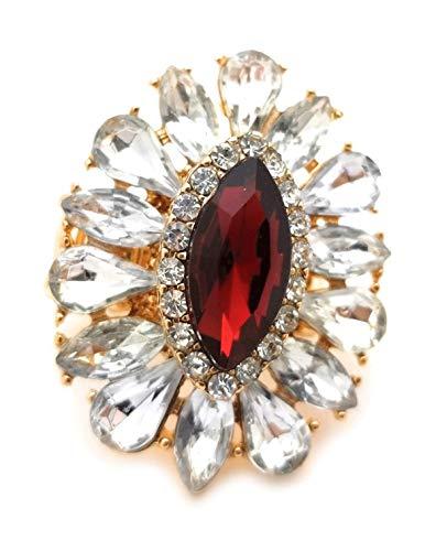 (Teri's Boutique Women's Crystal Rhinestone Flower Teardrop Sparkle Stretch Adjustable Ring (Red))