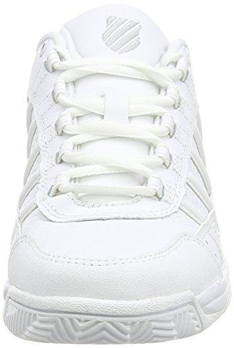 K-Swiss OUTSHINE EU~WHITE/PLATINUM~M 91120-147-M - Zapatillas de tenis de cuero para mujer Blanco