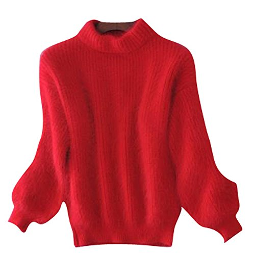 Women's Winter Thick Mohair Fluffy Fuzzy Short Sweater Batwing Sleeve Top Red
