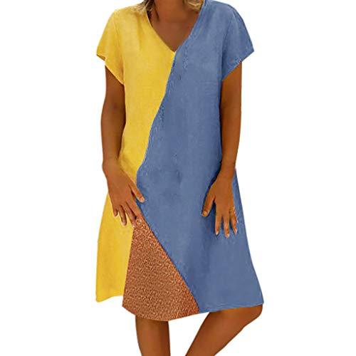 Smileq Casual Summer Blue Patchwork Maniche Sundress Neck Vintage Women Gonna Sky V corte rrq5ApH