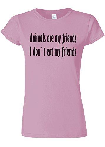 抽象警報大きいAnimals Are My Friends Funny Novelty Light Pink Women T Shirt Top-L