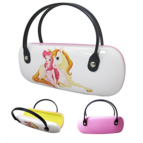 Children's Glasses Case -Pink Unicorn Princess Design Hard Plastic -By - A Of Handle With Glasses Pair