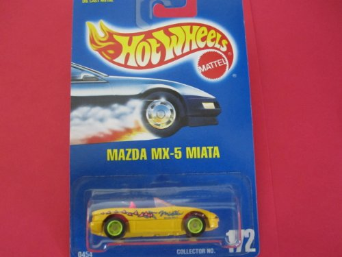 Hot Wheels Blue Card - Mazda Mx-5 Miata (Yellow) #172 1991 Hot Wheels All Blue Card with Green Wheels