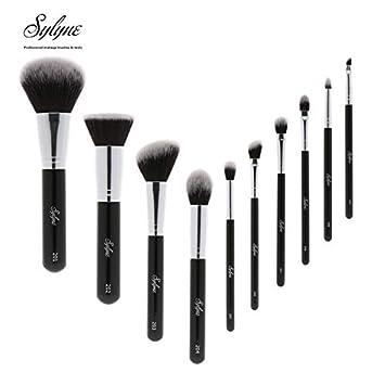 674e0e27b5c Amazon.com: Sylyne makeup brushes 10pcs professional makeup brush set  classic black make up foundation eyebrow brush kit tools.: Beauty