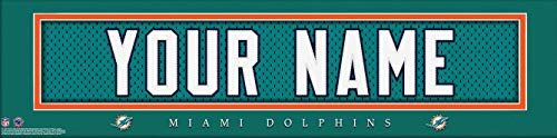 Miami Dolphins NFL Jersey Nameplate Wall Print, Personalized Gift, Boy's Room Decor 6x22 Unframed Poster