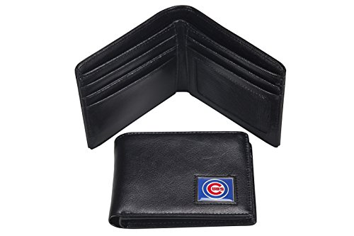MLB Chicago Cubs Men's Leather RFiD Safe Travel Wallet - Chicago Cubs Black Leather