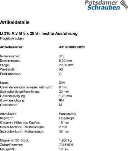 10 Edelstahl V2A Fl/ügelschrauben DIN 316 A2 M8x20