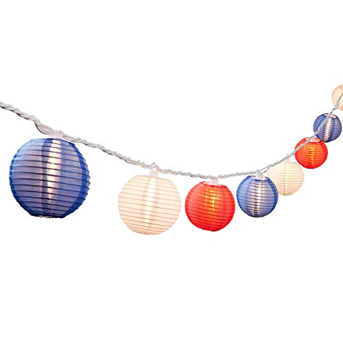 Blue Paper Awning (NIOSTA 9Ft Hanging Paper Lantern String Lights:10 Mini Oriental Style Colorful Lanterns Plug in Home & Garden Decorative Lights for Indoor/Outdoor Patio Party Wedding Bedroom Bistro Bar)