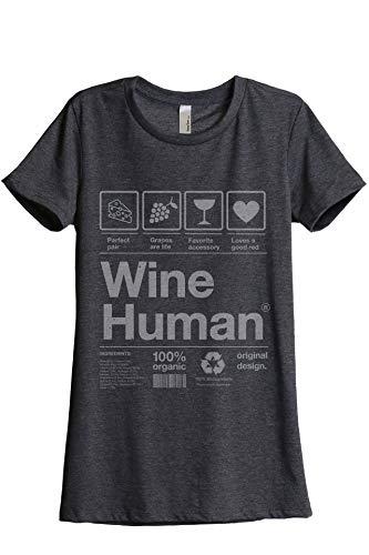 Thread Tank Wine Human Women's Fashion Relaxed T-Shirt Tee Charcoal Grey Medium
