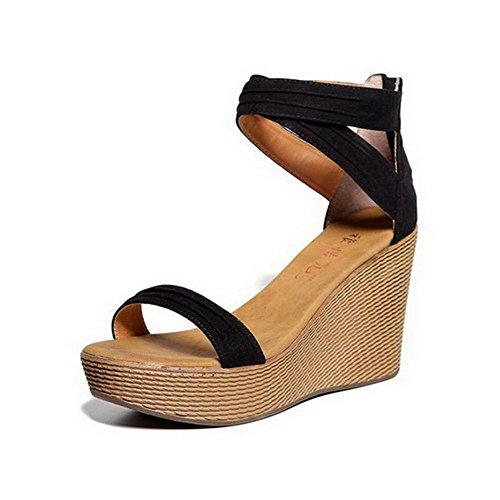 Zipper Black Toe Solid Women's Heels AllhqFashion Microfiber High Sandals Open z6q15