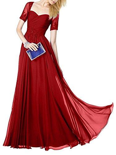 Abendkleider Abiballkleider Abschlussballkleider Dunkel Rot Braut Chiffon La mit mia Spitze Lang Brautmutterkleider Kurzarm HXnAqg