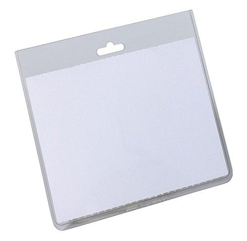 DURABLE 813519 - Busta portanome con tasca chiusa, clip per combinazione con tutti i sistemi di aggancio, 60x90 mm, trasparente, confezione da 20 pezzi 8135/19