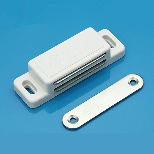 50pcs G75 Wholesale White/Brown Magnetic Touch Nylon Cabinet Door Catches Stop With Screws For Furniture Hardware - (Color: White)