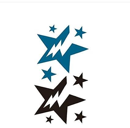 LFVGUIOP Pegatinas de Tatuaje Estrella relámpago Negro y Azul ...