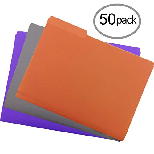 Plastic File Folders 50PCS Heavy Duty Plastic Folders 1/3 Cut Tab Letter Size Assorted Colors for Organizing and Easy File Storage Plastic File Folders Colored