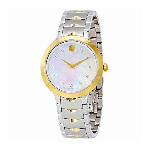 Movado Women's Steel Bracelet Gold Tone Steel Case Swiss Quartz MOP Dial Analog Watch 0607056