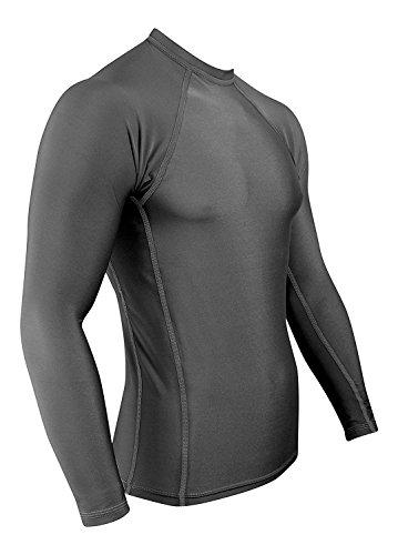 Rash Guard For Men Compression & Base Layer Shirt (Gray - Gray Stitching, Medium)