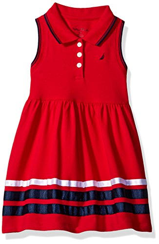 Sleeveless Girls Pique - Nautica Girls' Toddler Sleeveless Pique Dress with Grosgrain Ribbon Trim Hem, Red 2T