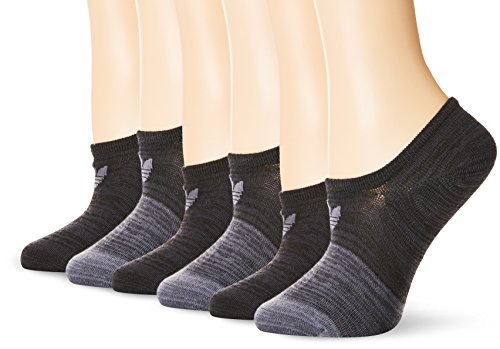 adidas Women's Originals Blocked Space Dye Super No Show Socks (6-Pack), GreyGreyGrey/Onix Space D, Size 5-10 (Adidas No Show Socks Women)